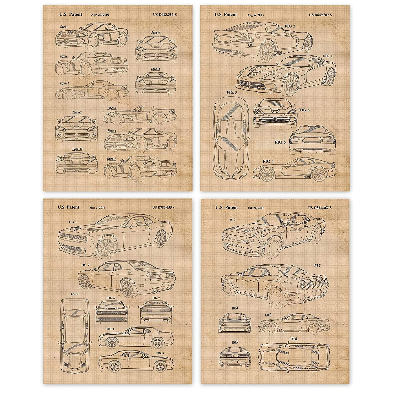 Vintage Dodge Demon, Viper, Challenger Hellcat Patent Poster Prints, Set of 4 (8x10) Unframed Photos, Wall Art Decor Gifts Under 20 for Home, Office, College Student, Teacher, MOPAR Cars & Coffee Fan