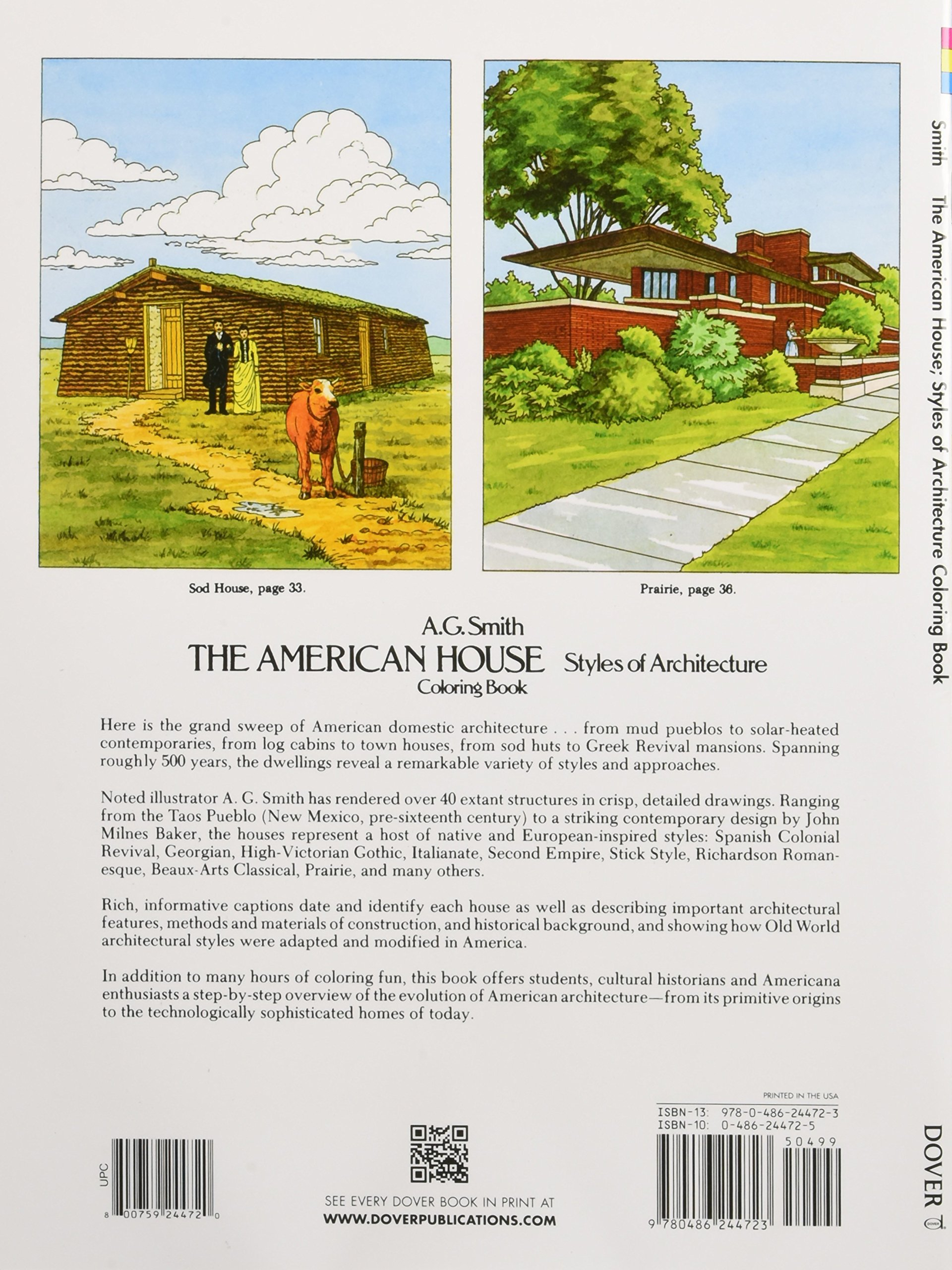the american house styles of architecture coloring book dover the american house styles of architecture coloring book dover history coloring book a g smith 9780486244723 amazon com books