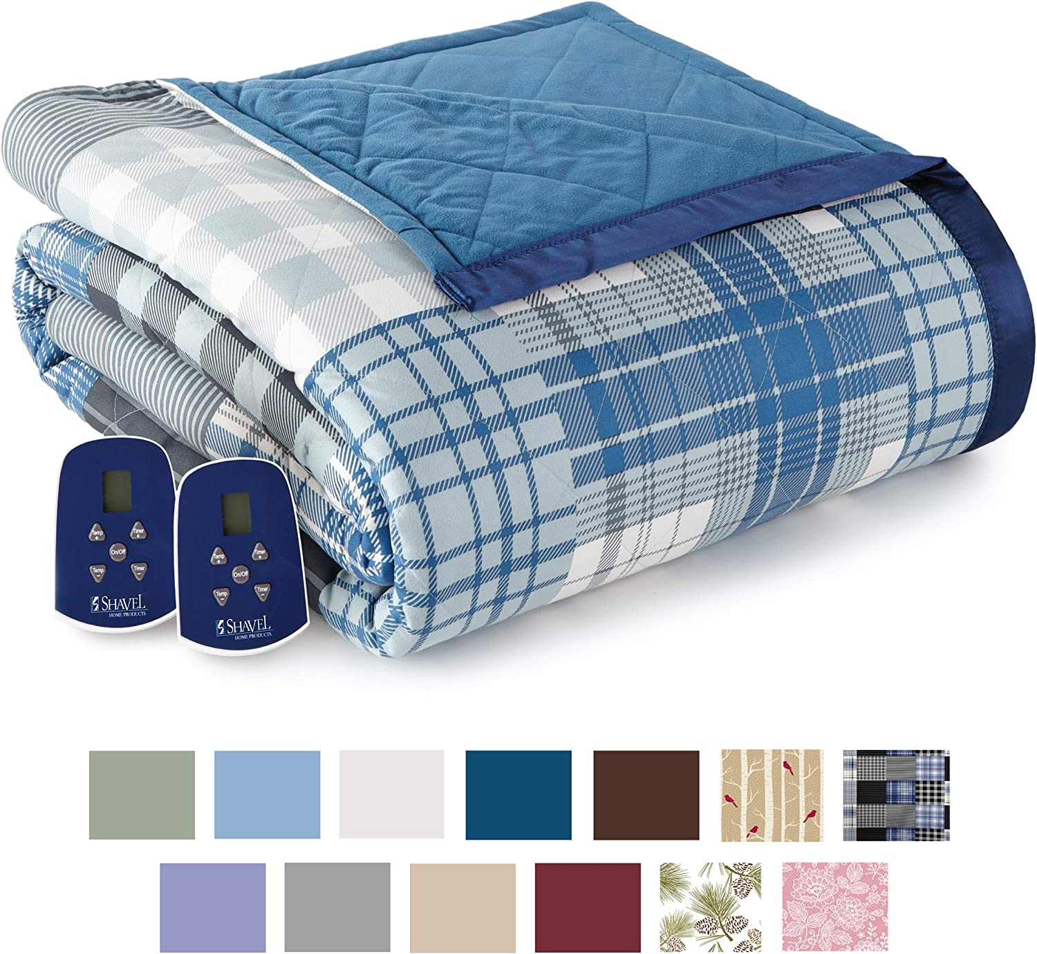 Thermee Micro Flannel Electric Blanket, Queen, Ultramarine Plaid