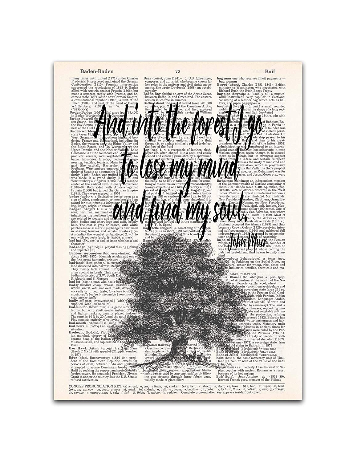 Into The Forest John Muir Nature Quote Dictionary Page Art Print 8x11 Inches Unframed