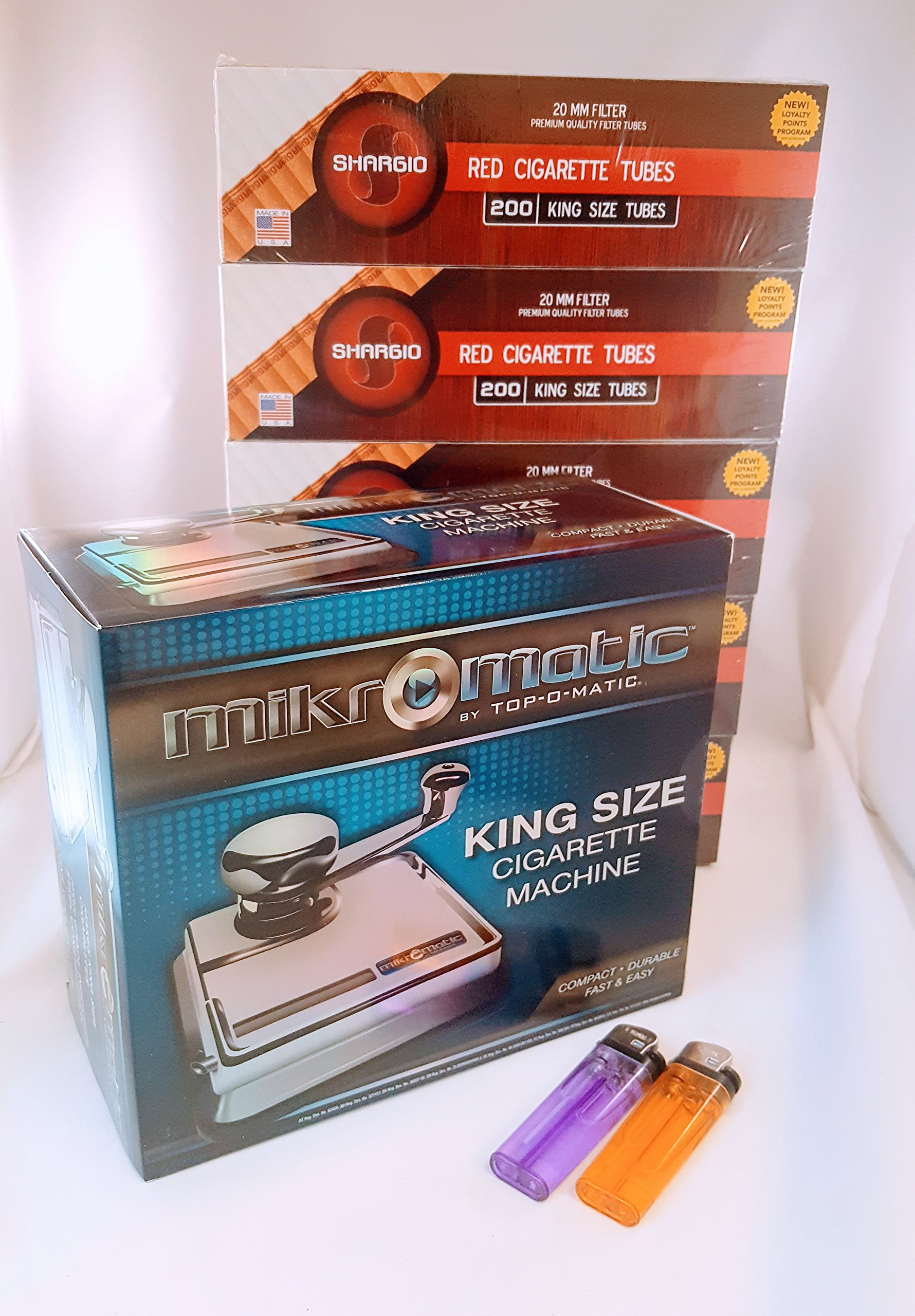 Mikromatic By Top-o-matic King Size Cigarette Machine+ FREE Shargio tubes & liighters by TOP