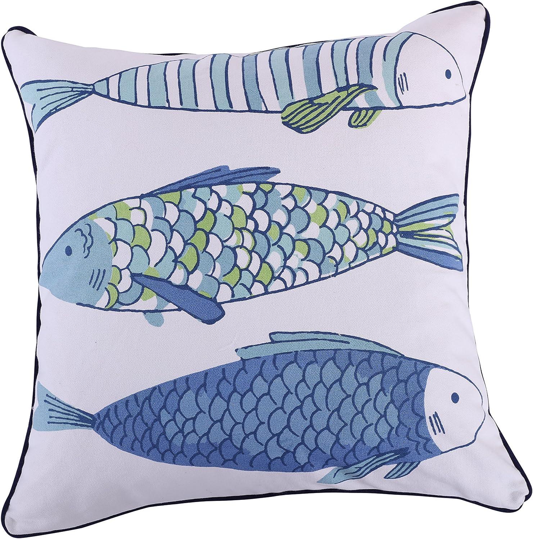 Levtex Catalina Fish Printed Fish Pillow, Blue, White