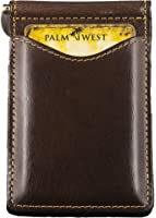 Palm West 225RFID-A Men's Leather Money Clip Wallet, RFID Blocking Technology.