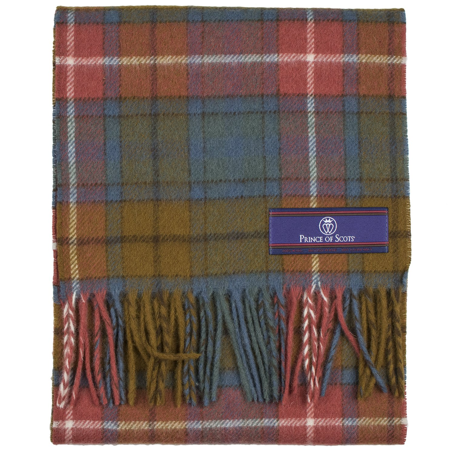 Prince of Scots Pure Merino Lambswool Tartan Scarf Antique Buchanan,Antique,One Size