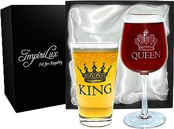 King Beer & Queen Wine Glass Set