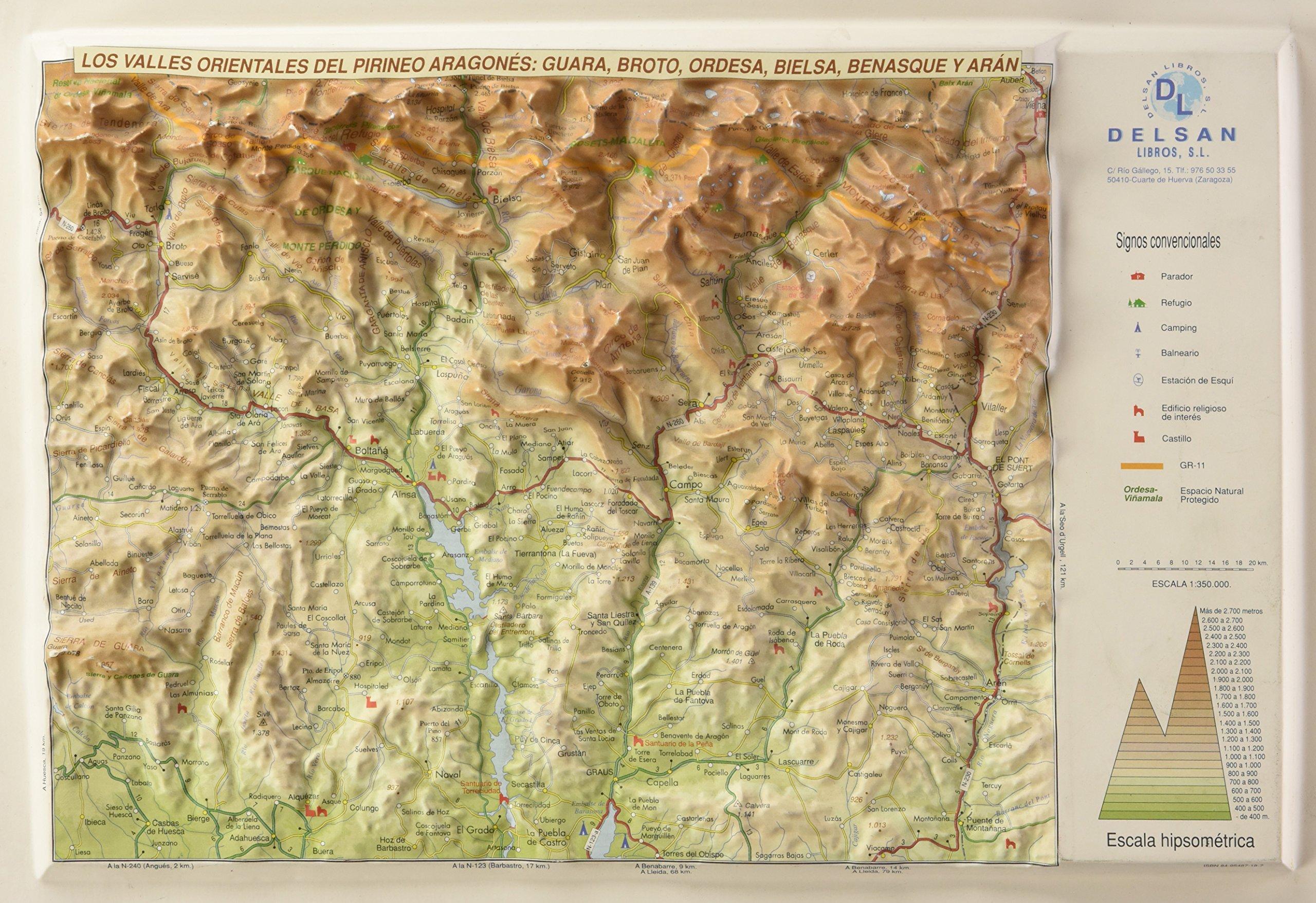 Mapa De Los Pirineos.En Relieve Mapa Valles Orientales Del Pirineo Aragones Los