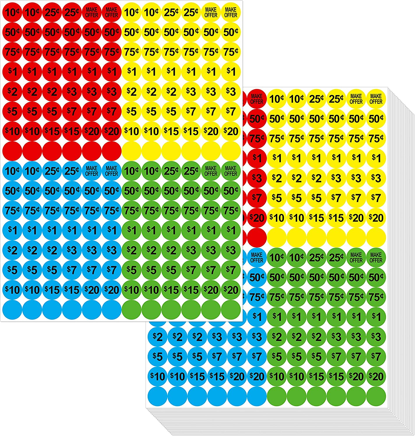 "3840 PCs Garage Sale Flea Market Pre-Priced Pricing Stickers in Bright Colors (Yellow/Red/Green/Cyan), 3/4"" in Diameter : Office Products"