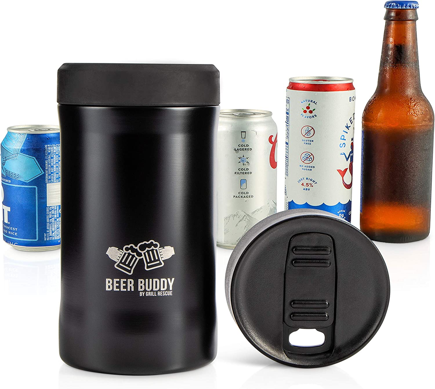 Beer Buddy​ Insulated Can Holder – Vacuum-Sealed Stainless Steel – Beer Bottle Insulator for Cold Beverages – Thermos Beer Cooler ​Suited for Any Size​ Drink - One Size Fits All (Matte Black)