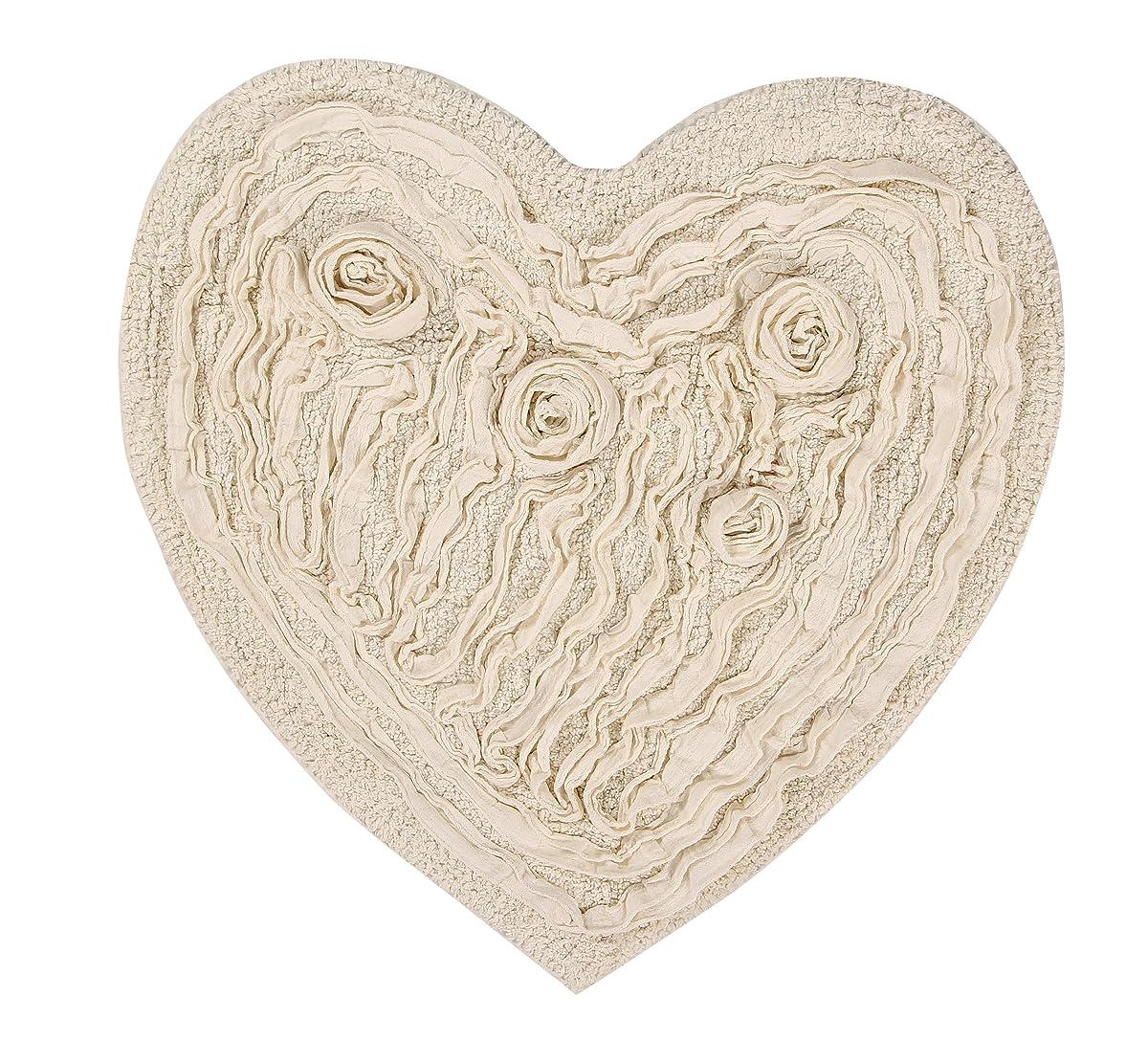 "Home Weavers BBEHR2525NA Bell Flower Heart Shaped Bath Rug, 25"" x 25"", Natural"