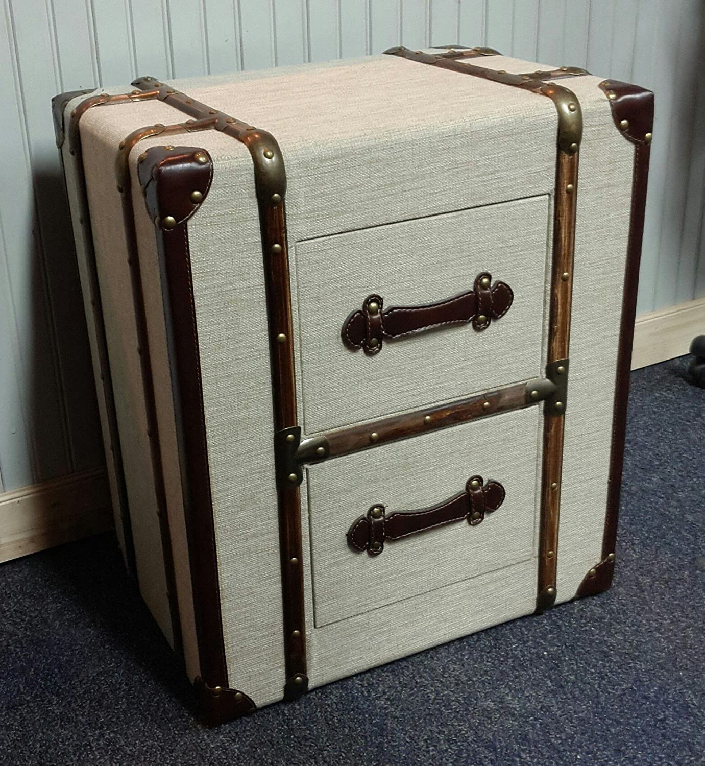 trunk nightstands pair l suitcase silver on with industrial moc emb drawers storage croc chest campaign of wheels luggage