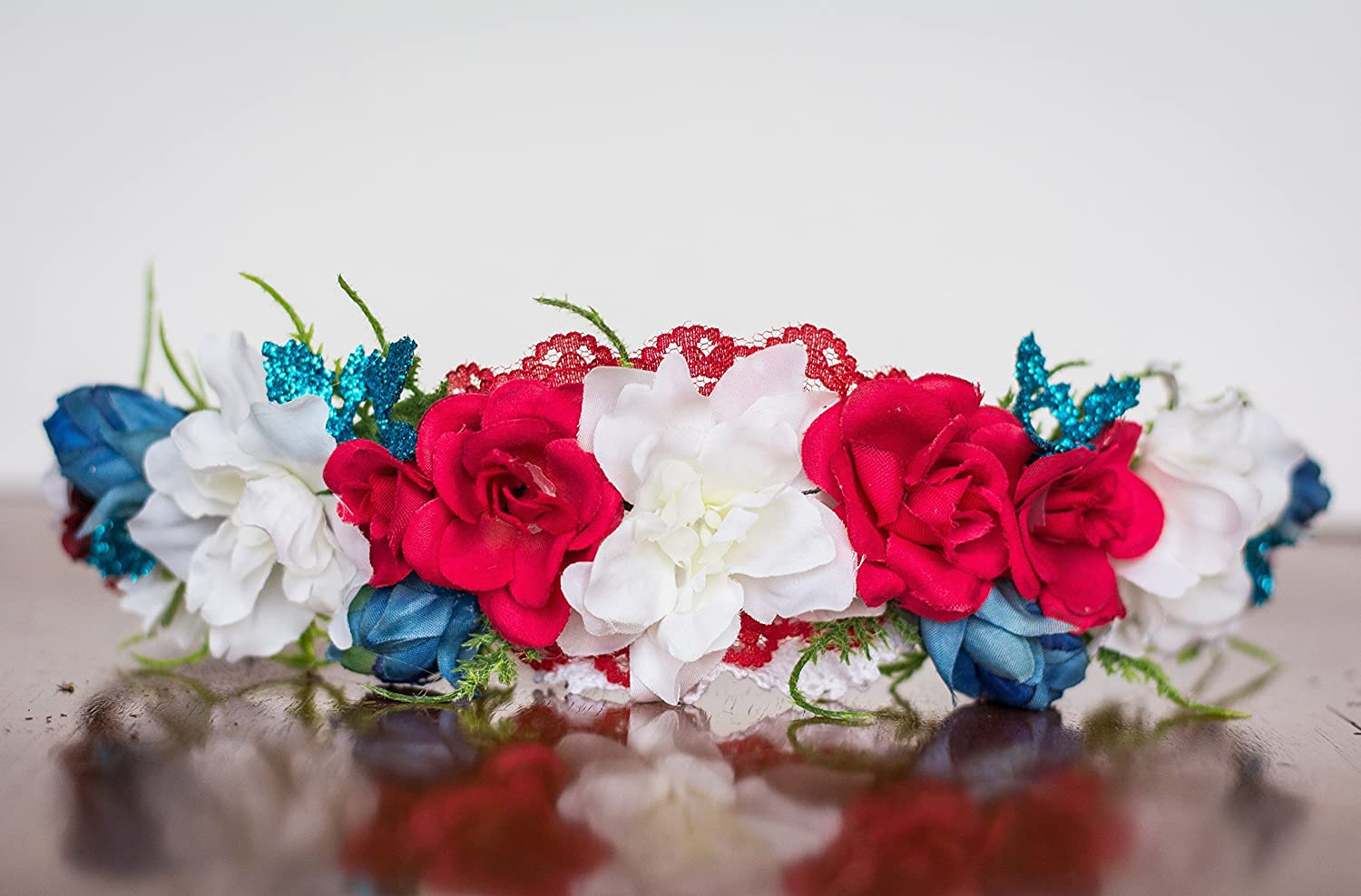 Red White and Blue Flower Crown - Photography Prop - Wire flower halo - Crown - Princess - Wedding Flower Crown - Fourth Of July - Memorial Day