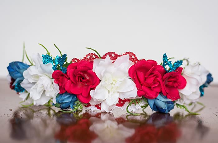 Amazon Red White And Blue Flower Crown Photography Prop