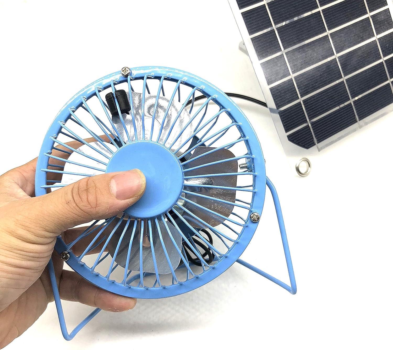 PrinceShop ALLOYSEED 4 inch USB Fan 3W 6V Solar Panel Iron Fan 4 Inch Cooling Ventilation Fan Charge for Phone computer desktop