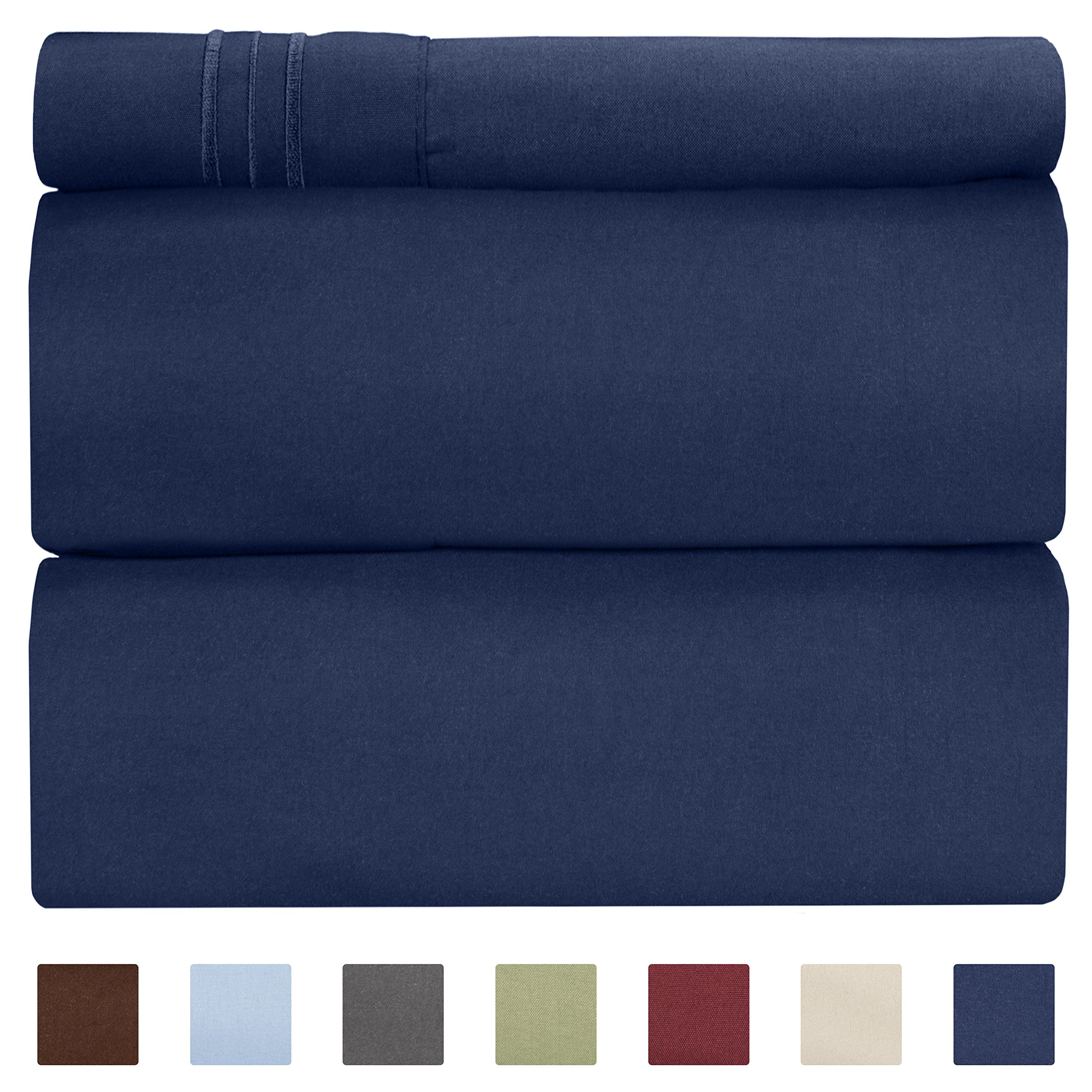CGK Unlimited Twin XL Sheet Set - 3 Piece - Fits College Dorm Rooms - Hotel Luxury Bed Sheets - Extra Soft - Deep Pockets - Easy Fit - Breathable & Cooling - Navy Blue Bed Sheets - Twins