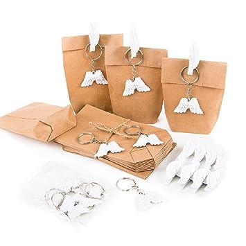 8 pieza Mini de del paquete ángel alas llavero Blanco + ...