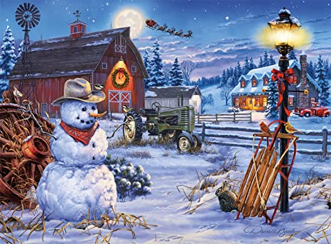 buffalo games holiday collection darrell bush country christmas 1000 piece jigsaw puzzle - Country Christmas