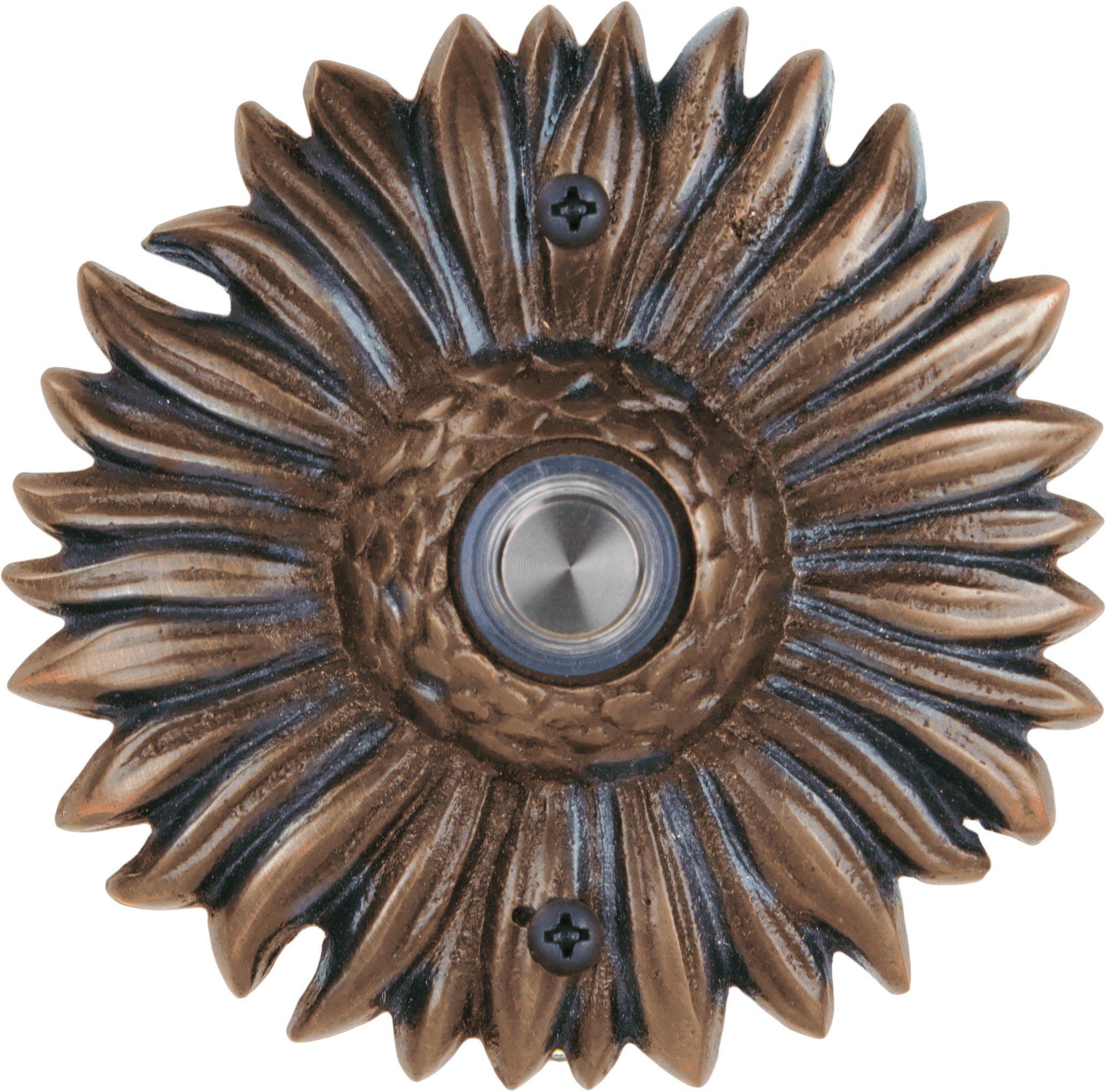 Waterwood Solid Brass Sunflower Doorbell in Oil Rubbed Bronze by Waterwood