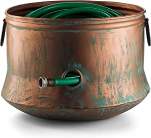 LifeSmart Garden Hose Pot Storage Holder Copper Finish with Lid with Handles Updated for November 2020