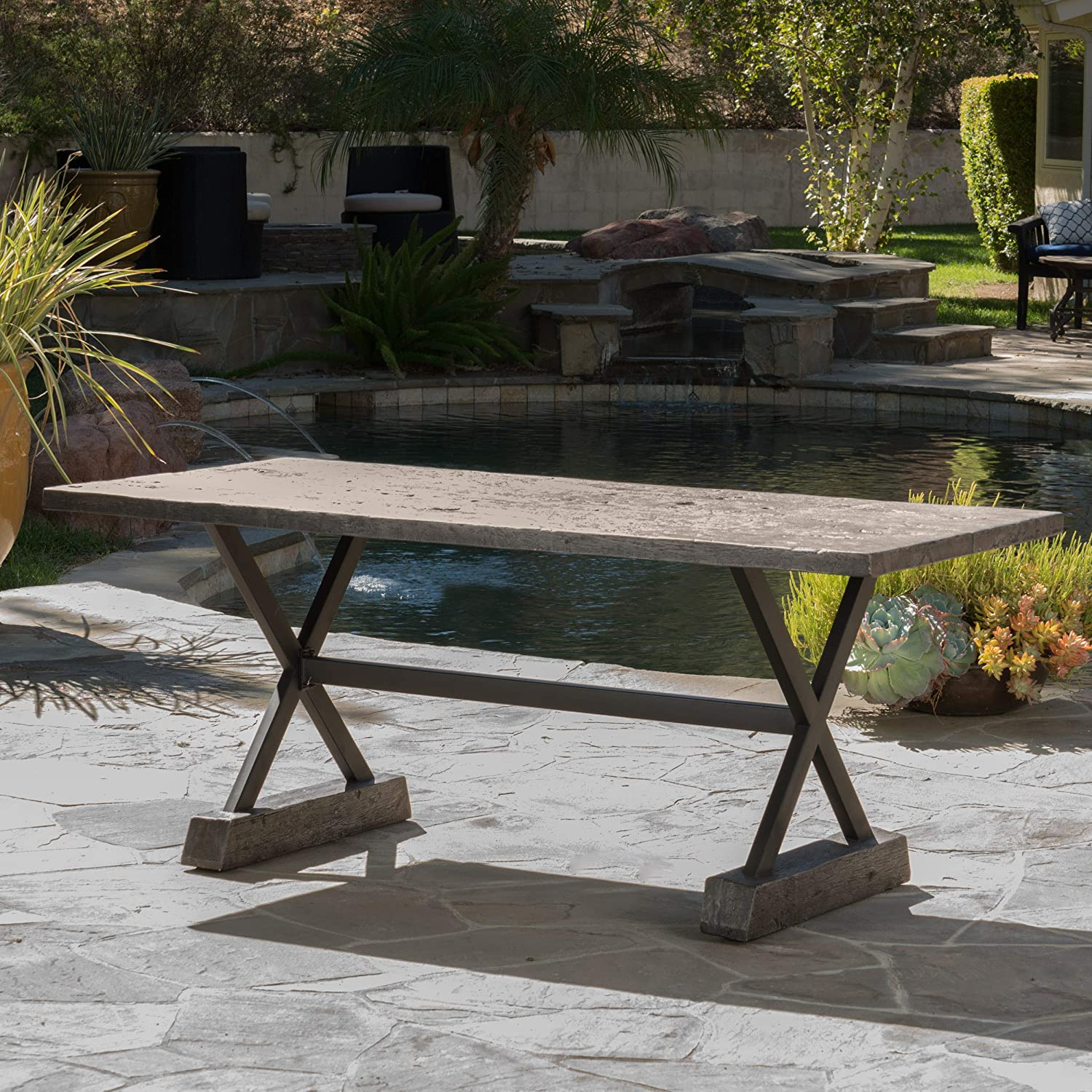 Amazon.com : GDF Studio Lavelle Brown Magnesium Oxide Dining Table : Garden & Outdoor