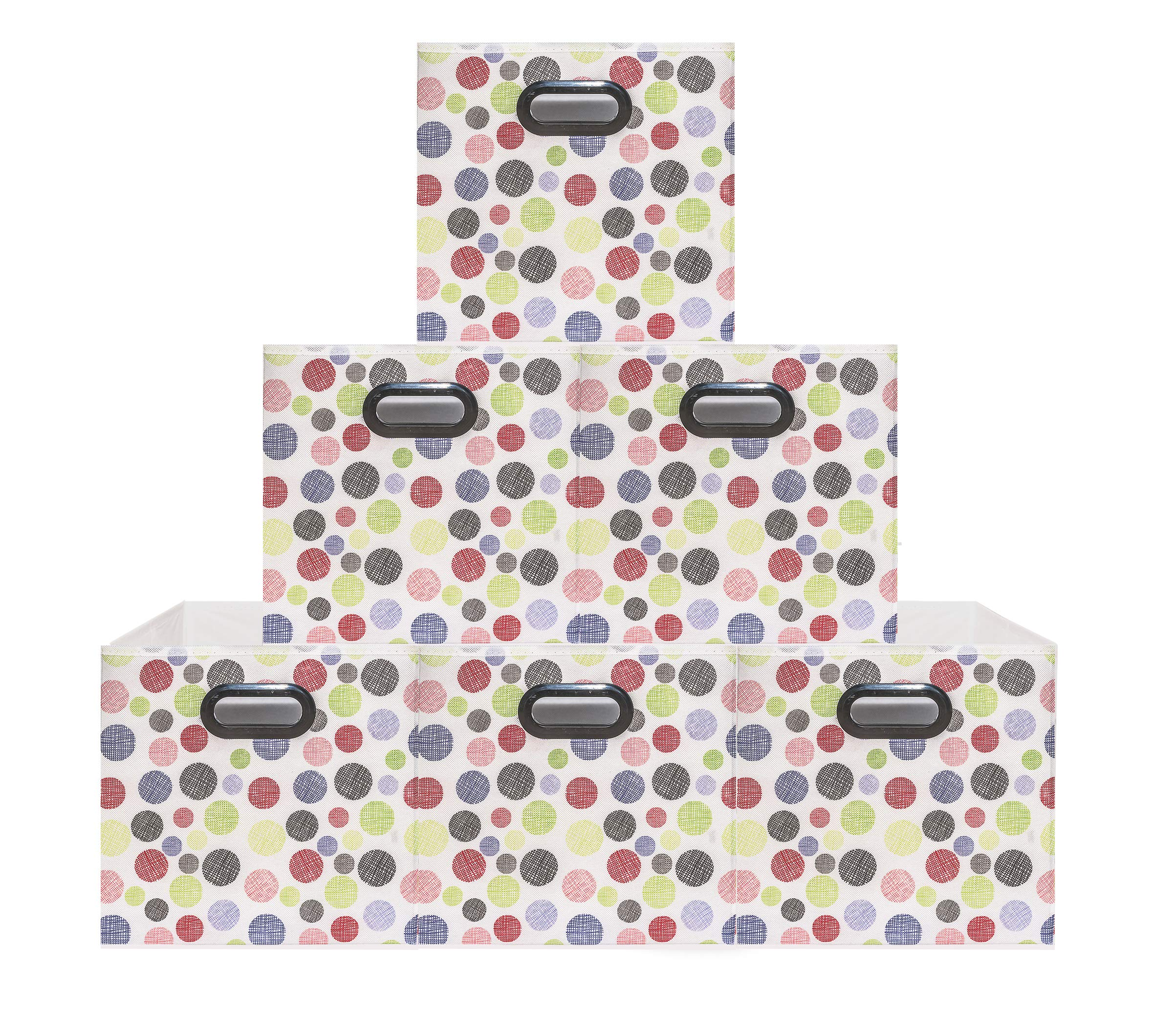 (6 Pack Polka Pattern) Unique Design Storage Bins,Stylish Containers, Gift Boxes,Strong Beautiful Tote, Baskets| Two Plastic Handles Collapsible Cubes Household Organization |for Nursery or Offices