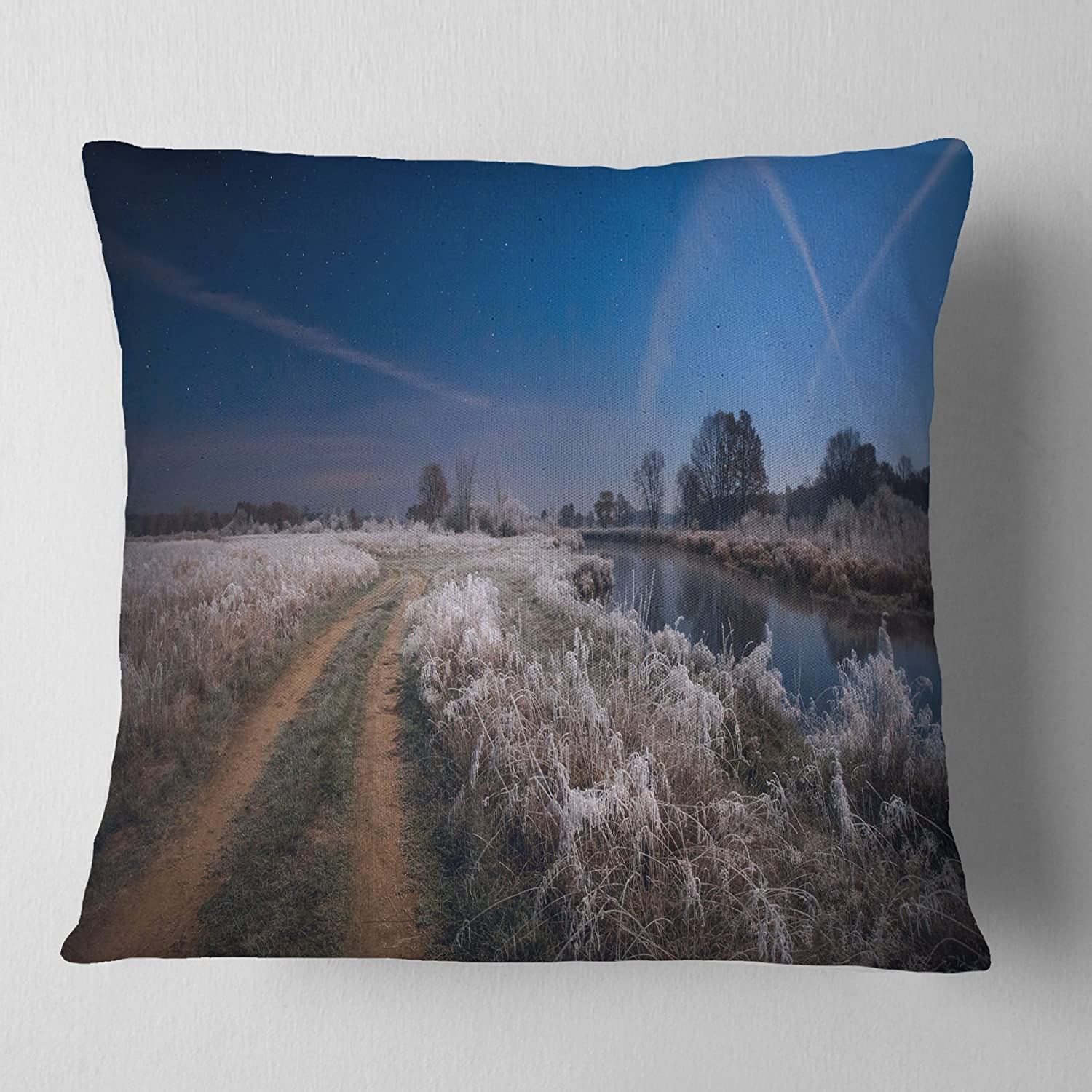 Designart CU11299-26-26 Frosty Fall Night in Moonlight' Landscape Printed Cushion Cover for Living Room, Sofa Throw Pillow 26 in. x 26 in. in, Insert Side