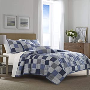 Nautica | Holly Grove Collection | 100% Cotton Light-Weight Reversible Quilt Bedspread Matching Shams, 3-Piece Bedding Set, Pre-Washed for Softness, King, Blue