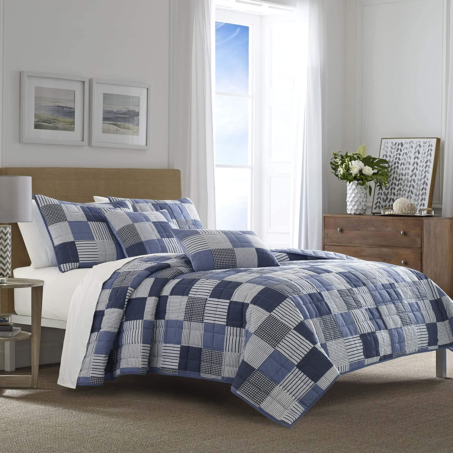 Nautica Holly Grove Quilt Set, Full/Queen, Blue
