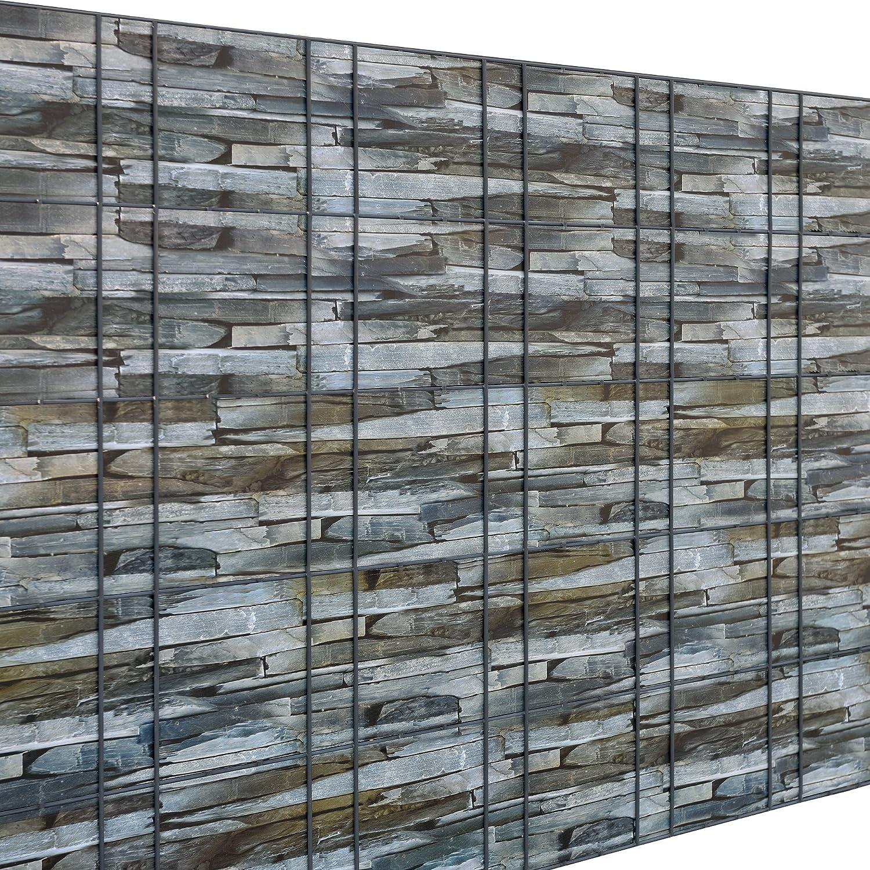 Neu.Haus] Rollo de Aislamiento (Efecto Piedra marrón)(35m) para Vallas y demás Superficies - Lámina de ocultación Protege contra el Viento: Amazon.es: Hogar