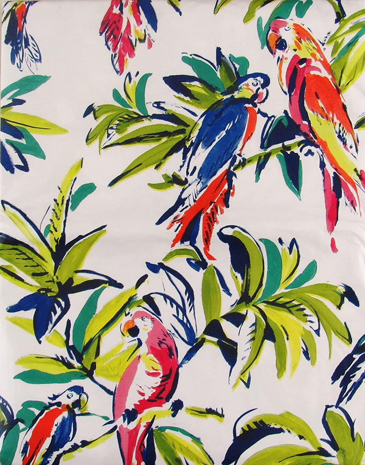 Watercolor Parrots in Tropical Paradise Abstract Vinyl Flannel Back Tablecloth 52 x 52 Square Elrene Home Fashions