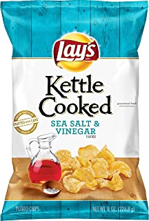 product image for Lay's Kettle Cooked Sea Salt & Vinegar Flavored Potato Chips, 8 Ounce
