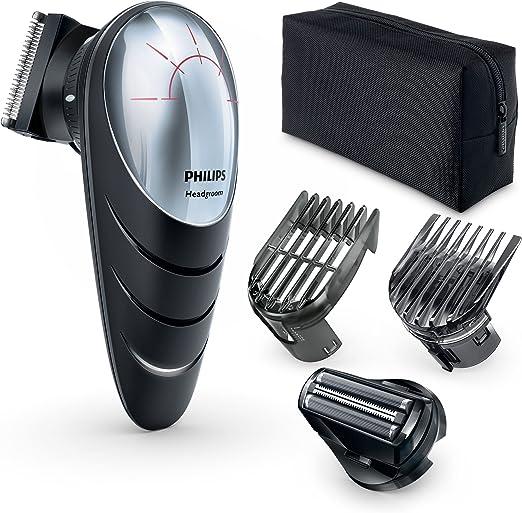 Philips QC5580/32 - Cortapelos con cabezal con giro de 180º para un mejor alcance. Incluye cabezal de corte con peine de 14 posiciones y cabezal de afeitado, red + recargable, negro: Philips: