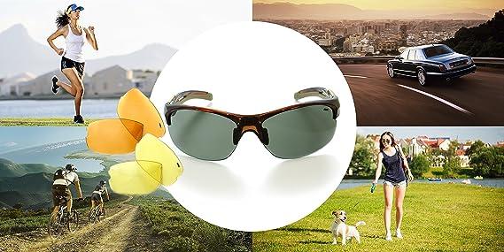 Gafas de sol - AVK -deportivas polarizadas, con 3 lentes ...