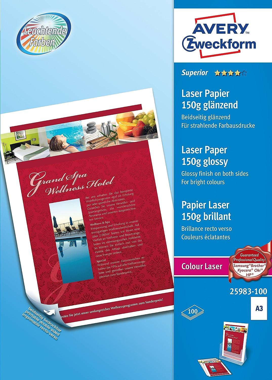 AVERY Zweckform 1198 Superior Colour Laser Papier A4, beidseitig beschichtet, gl/änzend, 120 g//m/², 200 Blatt