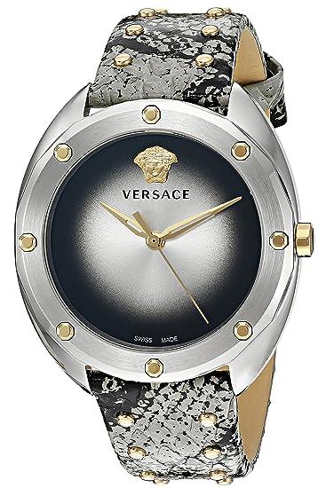 Versace VEBM00718 - Reloj de Cuarzo para Mujer, Acero Inoxidable y Piel de Serpiente,