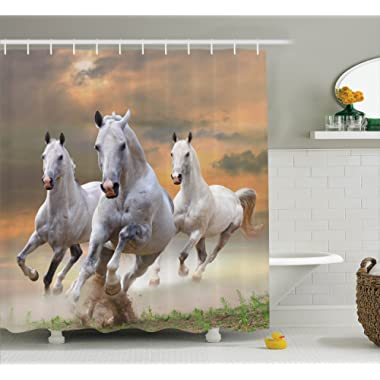 Ambesonne Animal Decor Shower Curtain Set, Stallion Horses Running On A Mystical Sky Background Equestrian Male Champions Print, Bathroom Accessories, 69W X 70L Inches, White Orange