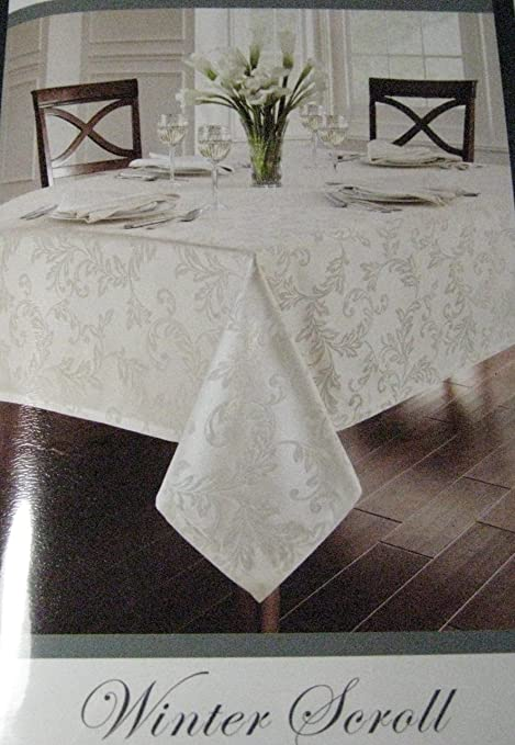 Christmas Tablescape Decor - Waterford elegant winter scroll gold assorted sizes tablecloths