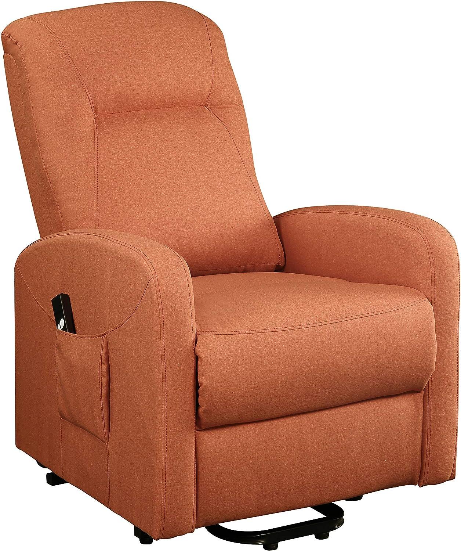 Benjara Fabric Upholstered Wooden Recliner with Power Lift Mechanism, Orange