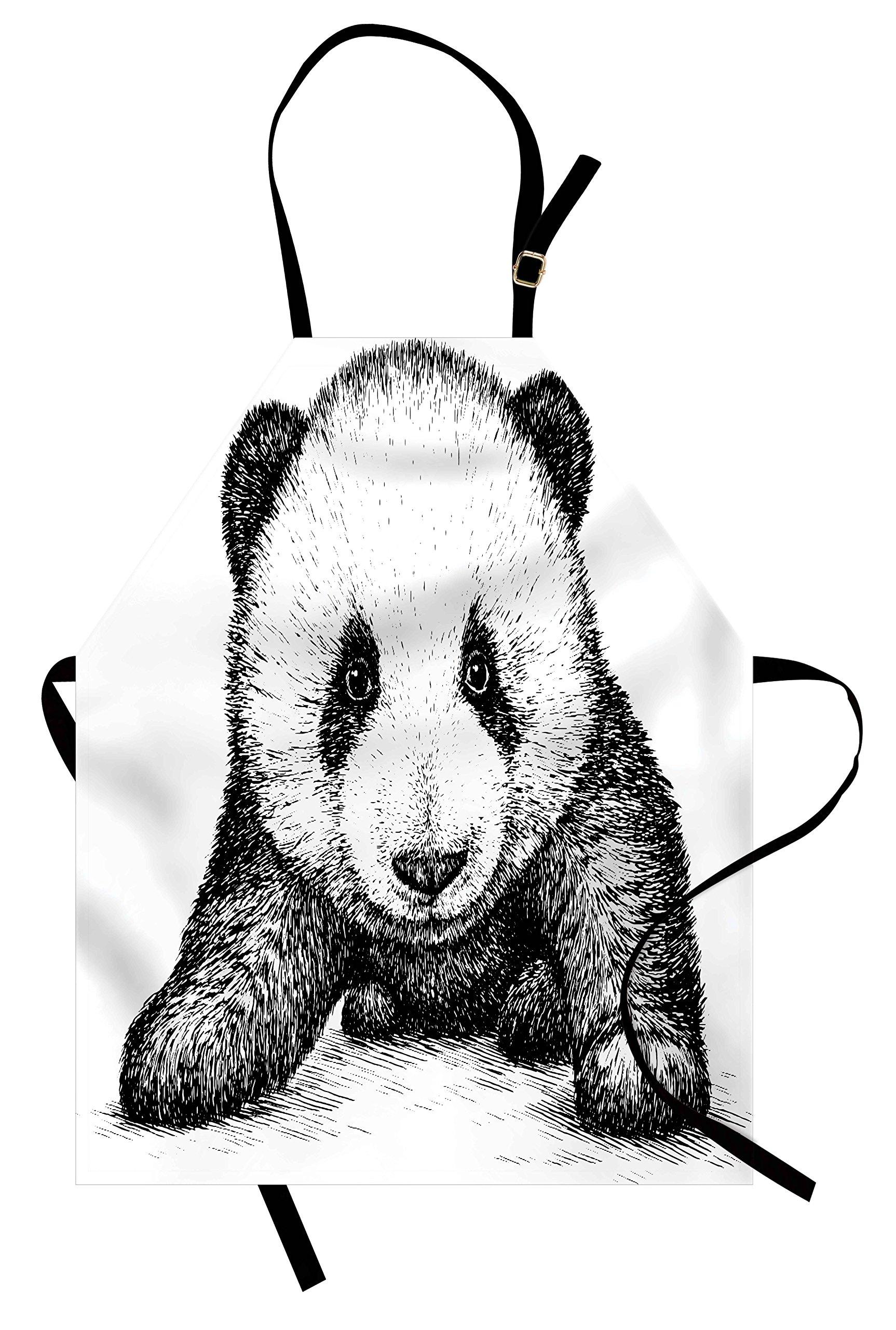 Ambesonne Panda Apron, Baby Panda Bear Illustration Sketch Style Artwork Asian Nature Wild Animals Theme, Unisex Kitchen Bib Apron with Adjustable Neck for Cooking Baking Gardening, Black White by Ambesonne