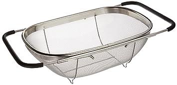 Over Sink Stainless Steel Adjustable Colander Strainer