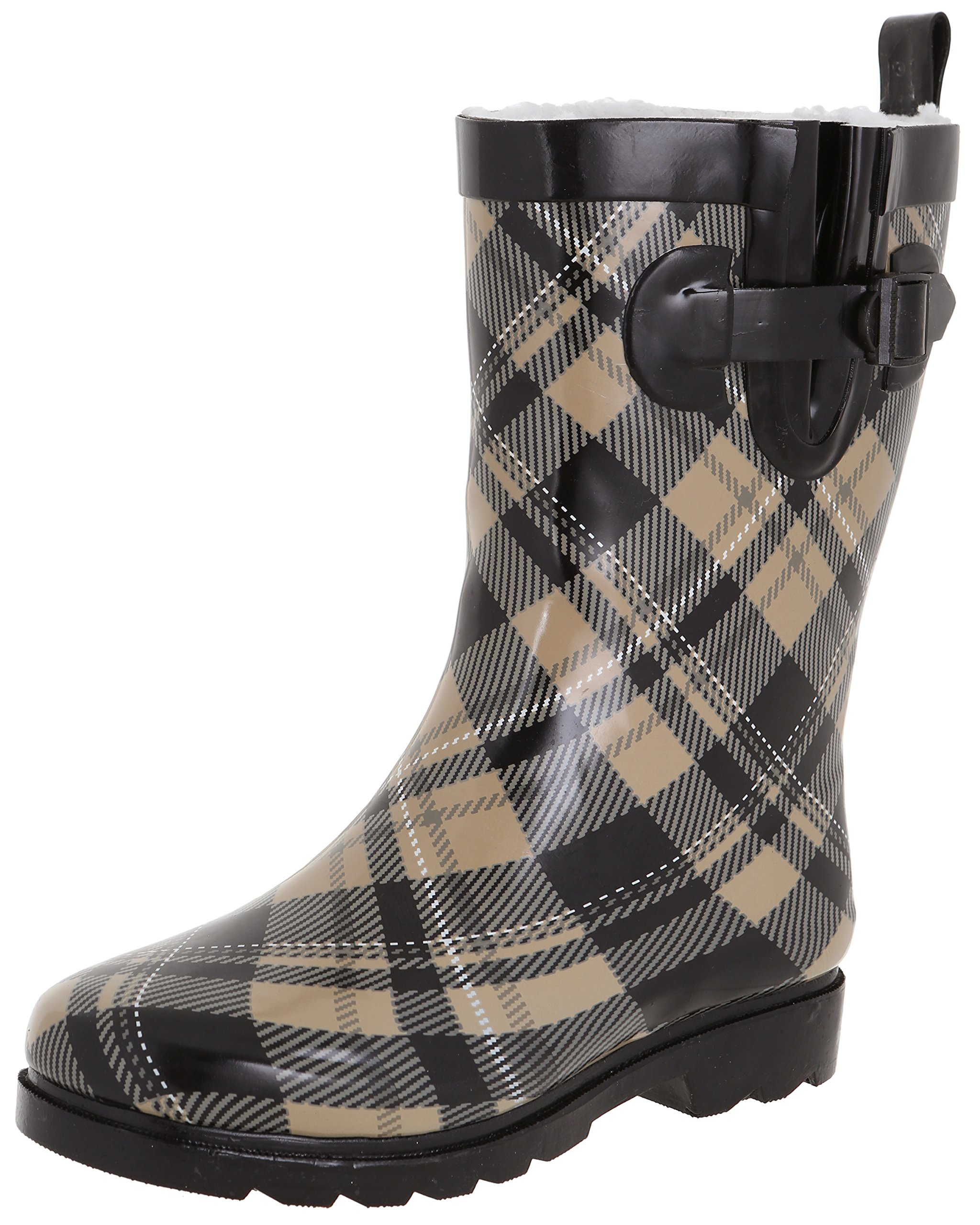 Capelli New York Ladies Shiny Plaid Printed Mid-Calf Rain Boot Warm Sand 9