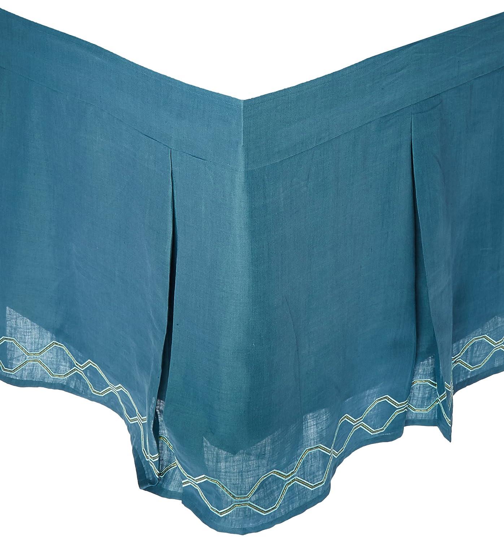 1891 by SFERRA Carlyleリネン3ピースパネルベッドスカート ツイン ブルー 780870538895 B002FL40QC  ツイン