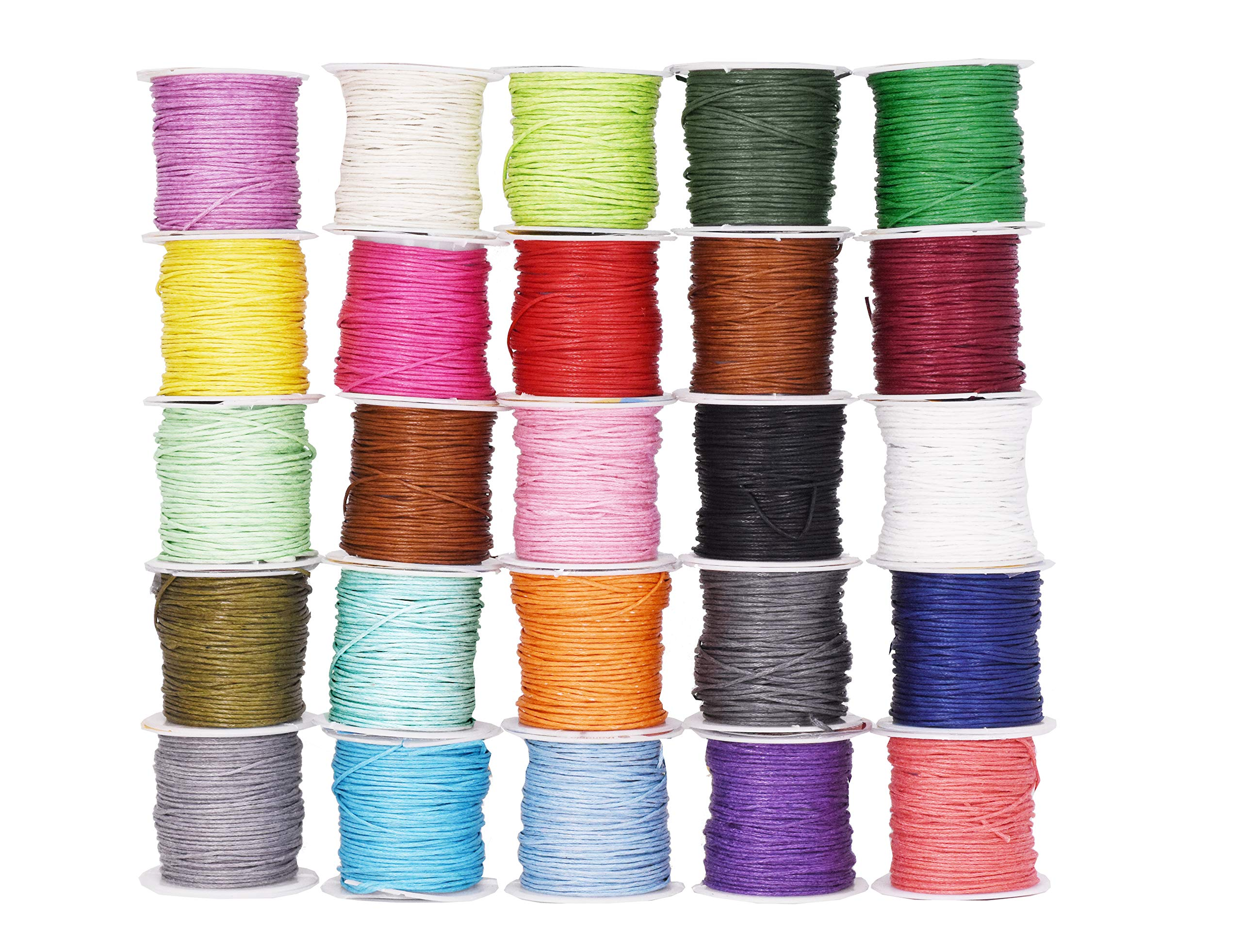 Mandala Crafts 1mm Jewelry Making Crafting Beading Macramé Waxed Cotton Cord Thread (25 Assorted Colors) by Mandala Crafts