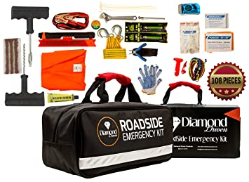 108 Piece Roadside Assistance Emergency Car Truck And RV Kit With Jumper Cables
