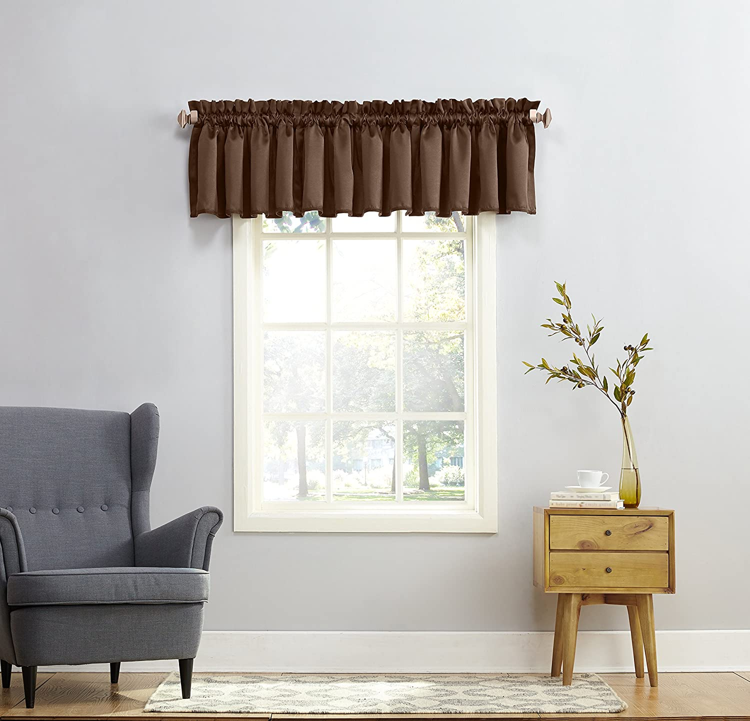 Sun Zero Barrow Energy Efficient Rod Pocket Curtain Valance Chocolate Brown