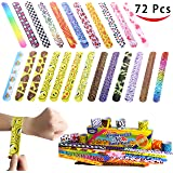Joyin Toy 72 PCs Slap Bracelets Party Favors Pack (24 Designs) with Colorful Hearts Animal Emoji Valentine's Prints