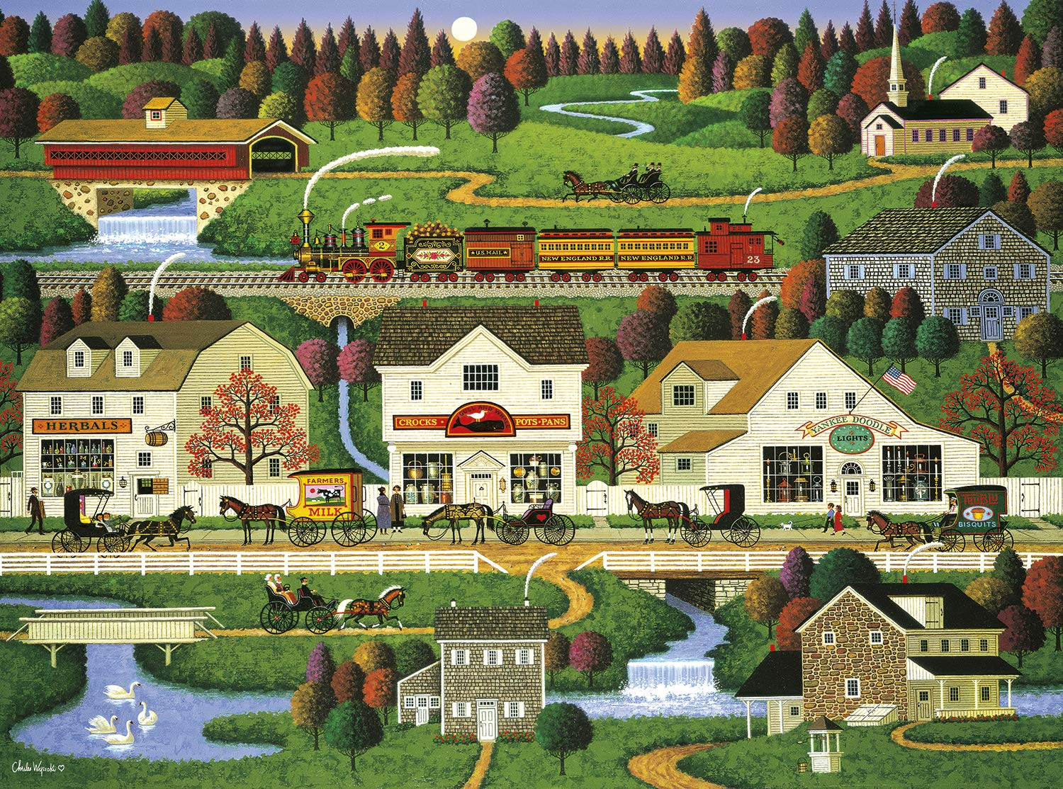 Buffalo Games Charles Wysocki - Yankee Wink Hollow - 1000 Piece Jigsaw Puzzle, Multi