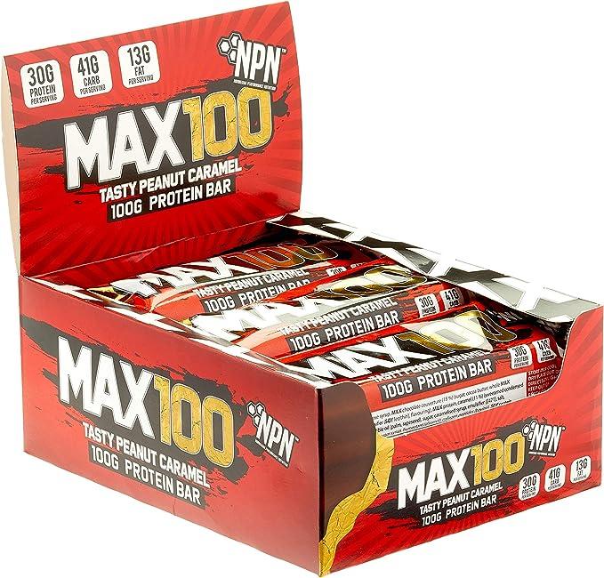 NPN MAX 100 barra de proteínas y carbohidratos | Barrita proteica para deporte, sabor premium | 9x100g Sabroso caramelo de maní