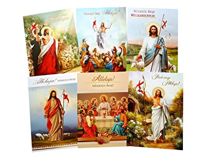 Amazon religious traditional polish easter greeting cards with religious traditional polish easter greeting cards with glitter set of 6 m4hsunfo