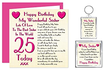 Sister 25th Happy Birthday Gift Set