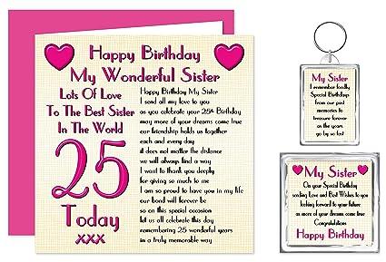 Hermana mayor 25th Tarjeta de cumpleaños - 25 de Llaveros ...